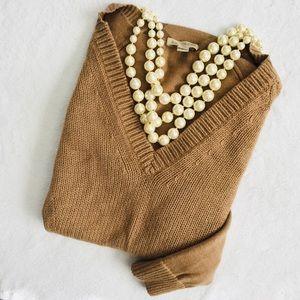 Burberry•Cotton Cashmere Blend V Neck Sweater